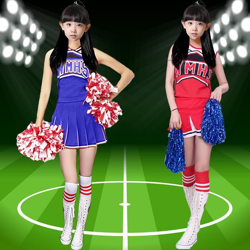 新款啦啦操表演服装儿童健美操舞蹈裙幼儿足球宝贝套装拉拉队演出服女图片