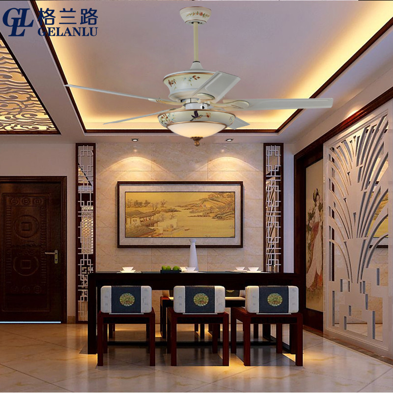格兰路 现代新中式变频吊扇灯 餐厅家用电风扇灯扇 中国风有加带吊灯图片