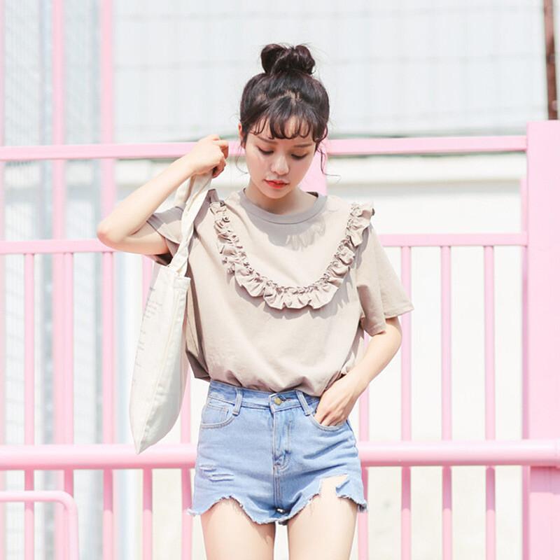 夜婷学院风日系软妹娃娃领短袖学生木耳边小衫夏季甜美可爱少女上衣l5