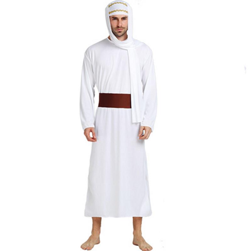 高貴白阿拉伯武士 cosplay中東衣服男阿聯酋長服裝 帽圖片