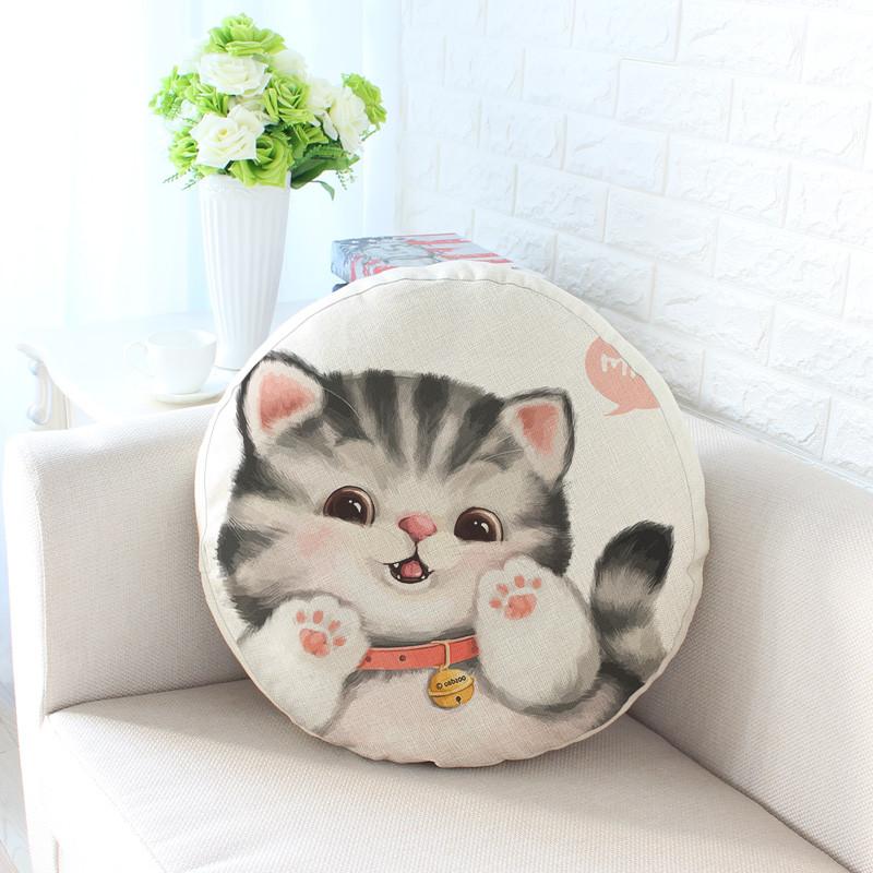 萌宠棉麻抱枕沙发靠垫 喵星人卡通可爱猫咪靠枕床头腰