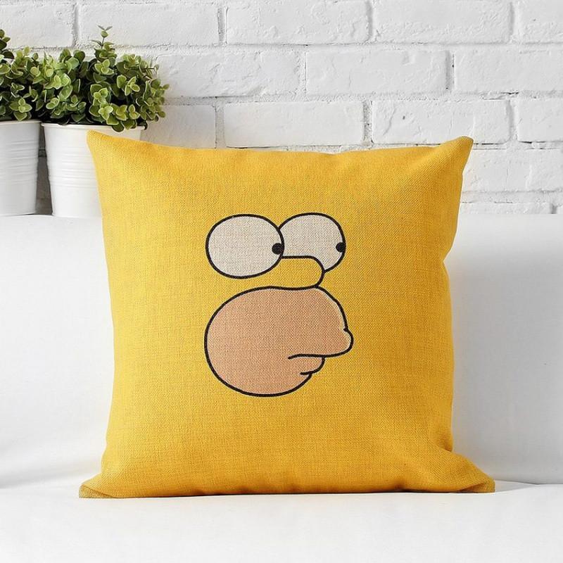 辛普森一家黄色卡通可爱简约棉麻趣味抱枕沙发办公室午睡靠枕靠垫
