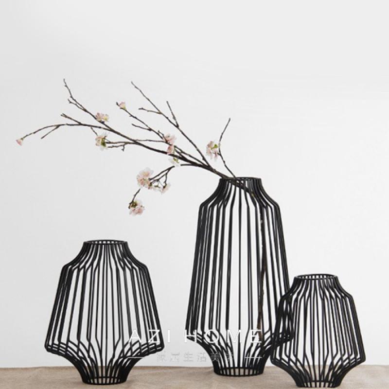 北欧现代中式新古典创意铁艺摆件装饰品软装配饰阑珊花器图片