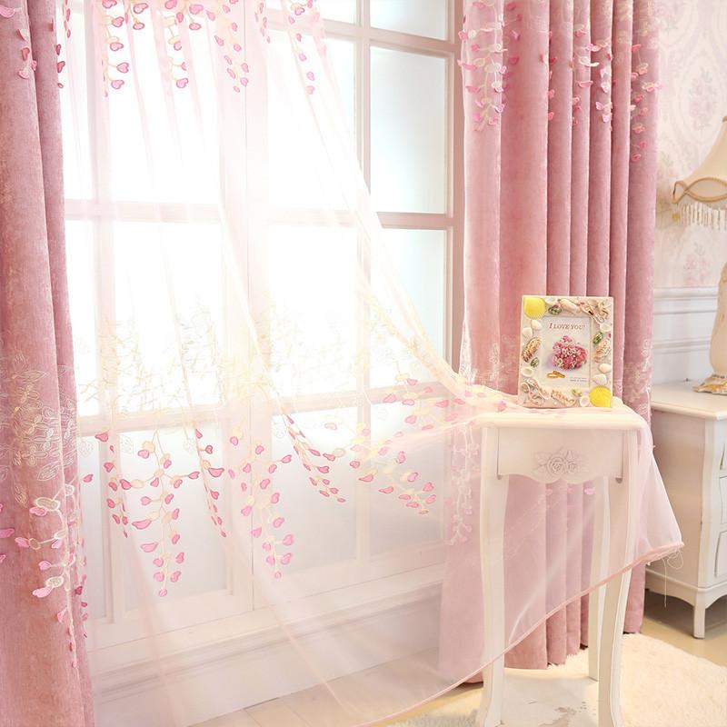 歐式窗簾布遮光臥室清新可愛窗簾公主風粉紅色夢幻浪漫粉少女窗紗