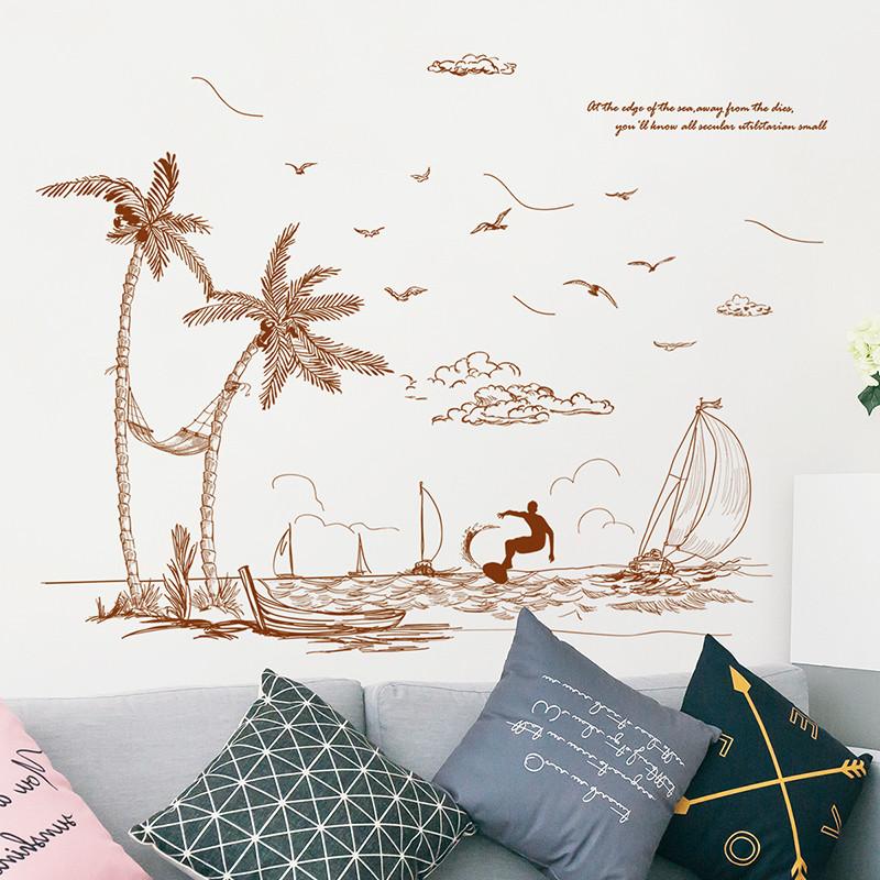 北欧风房间墙贴纸背景墙壁装饰品手绘海滩椰树地中海风景自粘