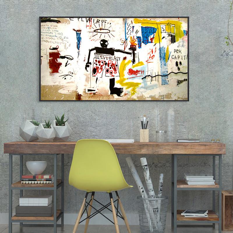巴斯奎特 抽象涂鸦装饰画巨幅工业风客厅沙发背景墙挂图片