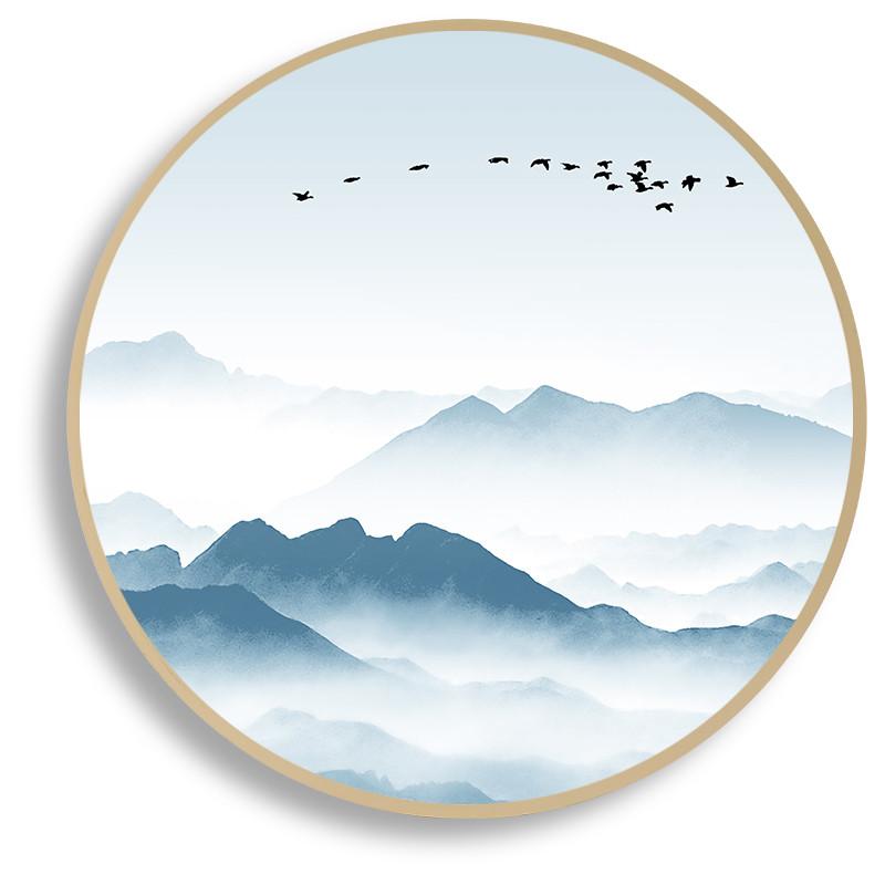 新中式圆形装饰画山水挂画实木框禅意中国风卧室客厅书房走廊壁饰