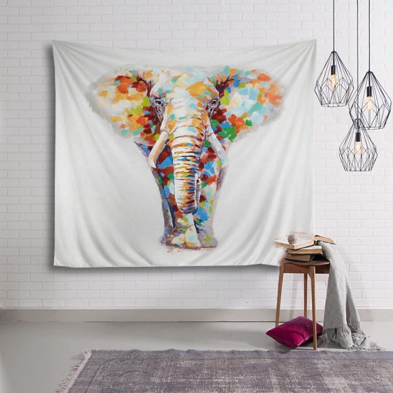 彩绘大象北欧挂布墙面背景装饰画布墙挂毯沙发巾桌布