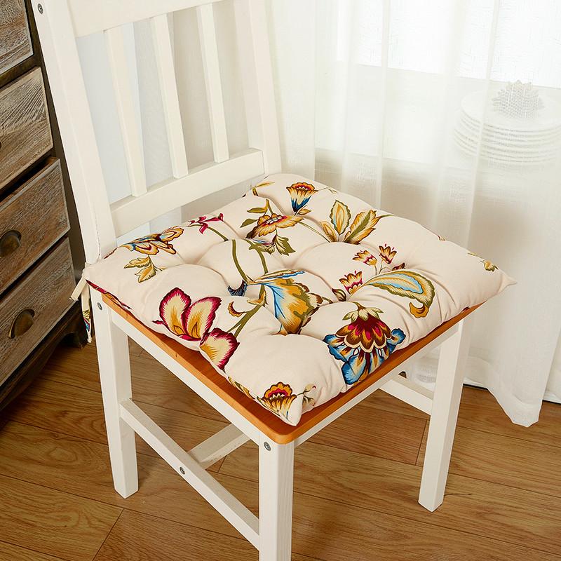 布藝家居坐墊美式鄉村餐椅墊手工縫制墊學生防滑椅墊帶綁帶圖片