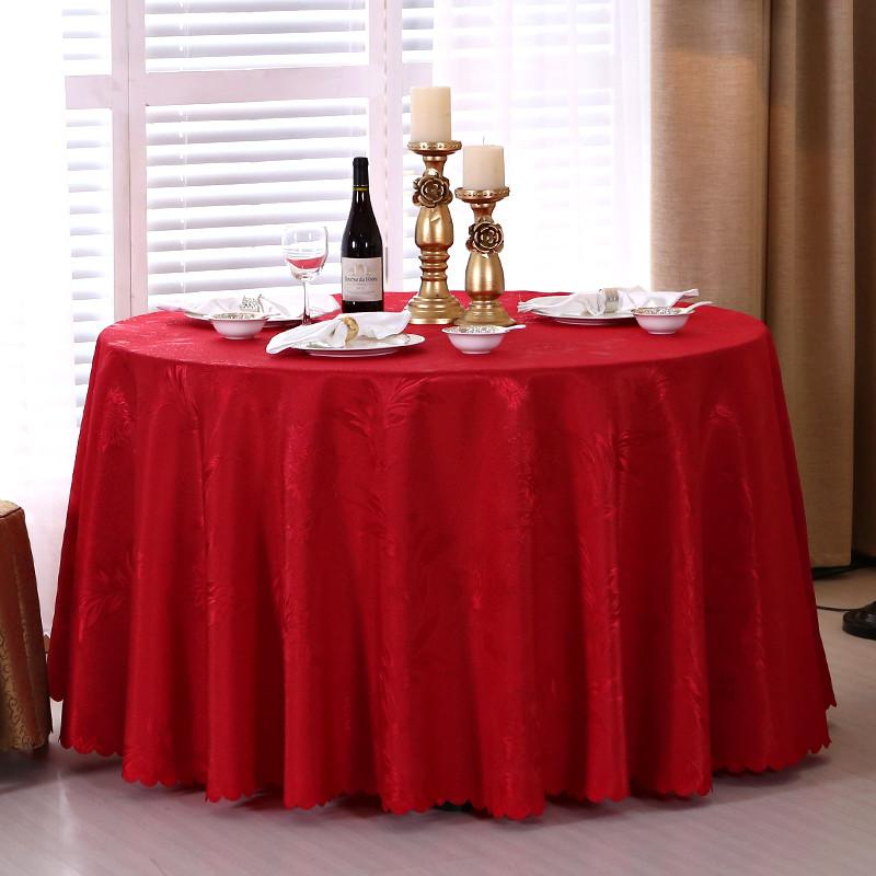 酒店桌布圆桌台布长方形圆形家用餐桌布红色婚庆会议餐厅布艺欧式