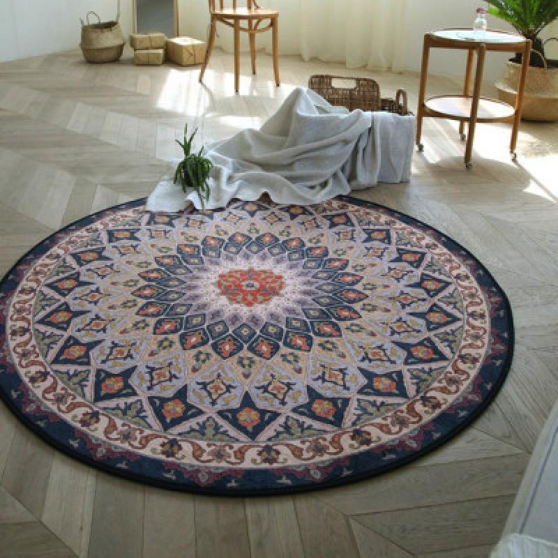 个性图案创意圆形客厅地毯 地垫 床前垫 防滑