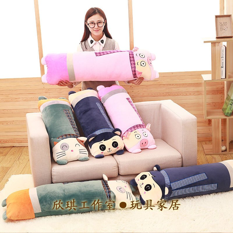 沙发抱枕靠垫创意床头飘窗枕头可爱猫咪长方形毛绒卡通靠枕