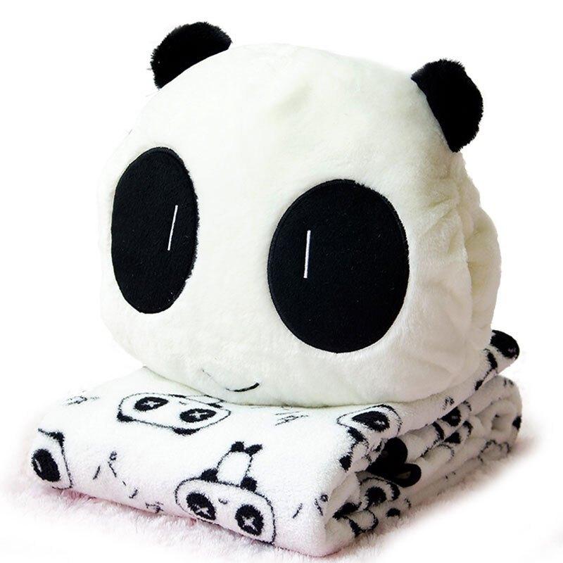 可爱熊猫公仔毛绒玩具娃娃三用三合一珊瑚绒毯子靠垫抱枕被子两用