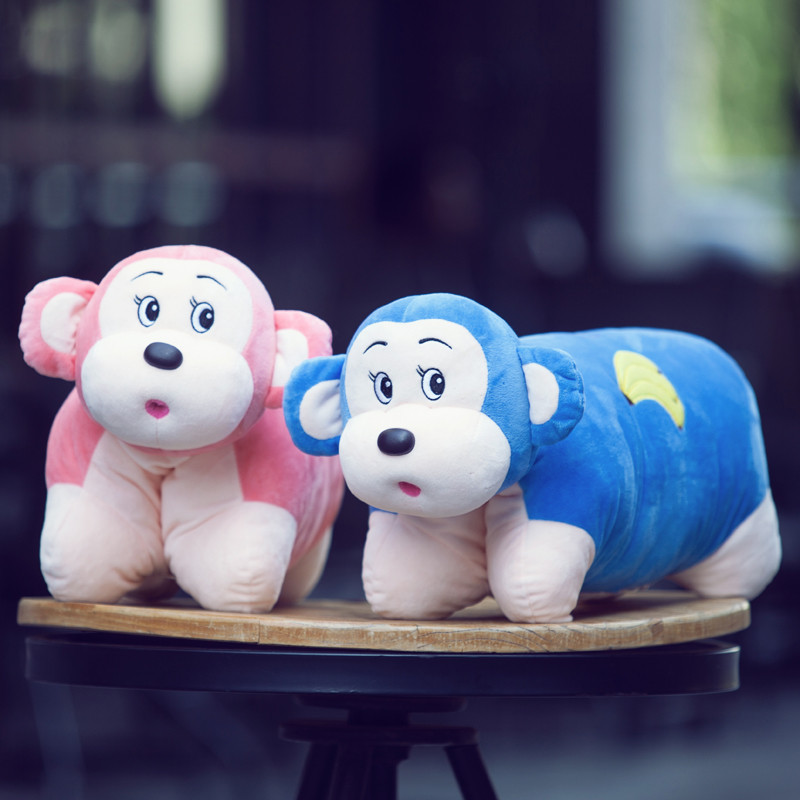 猴子抱枕 可爱小猴腰靠坐垫公仔 可折叠两用枕头午睡枕靠垫办公