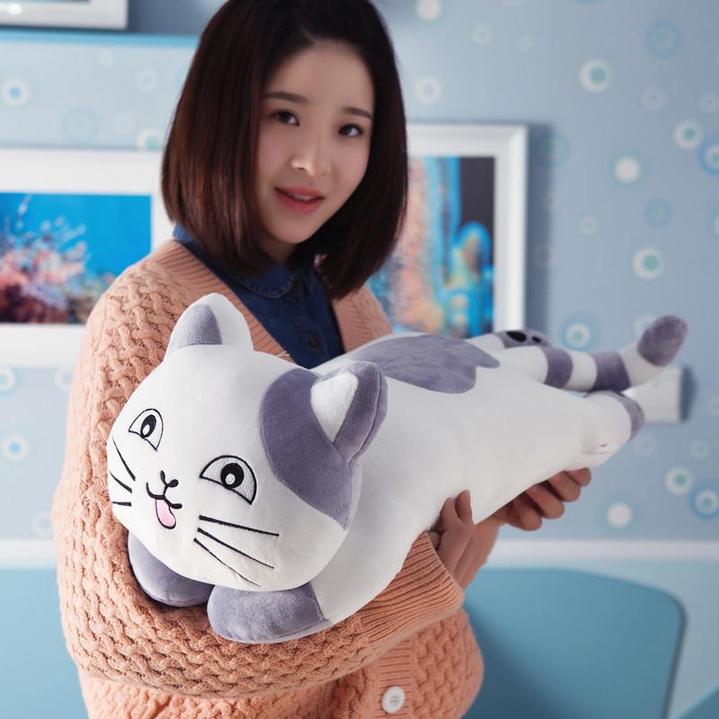 卡通可爱少女猫咪午睡枕男朋友睡觉抱枕靠垫宝宝小枕头长条枕娃娃