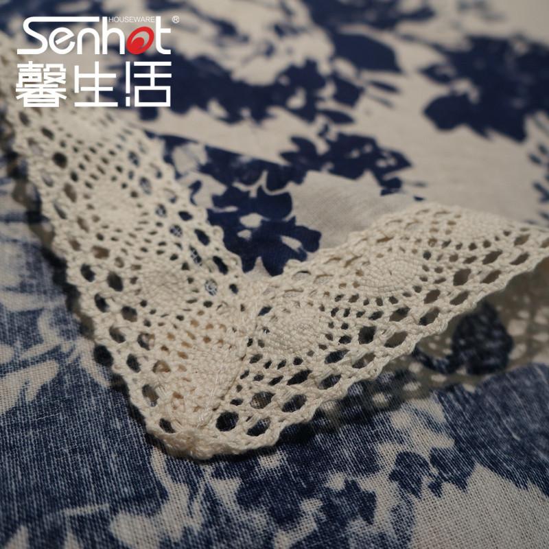 中国风桌布布艺长方形餐桌布印染青花瓷纹正方形圆桌台布茶几盖巾