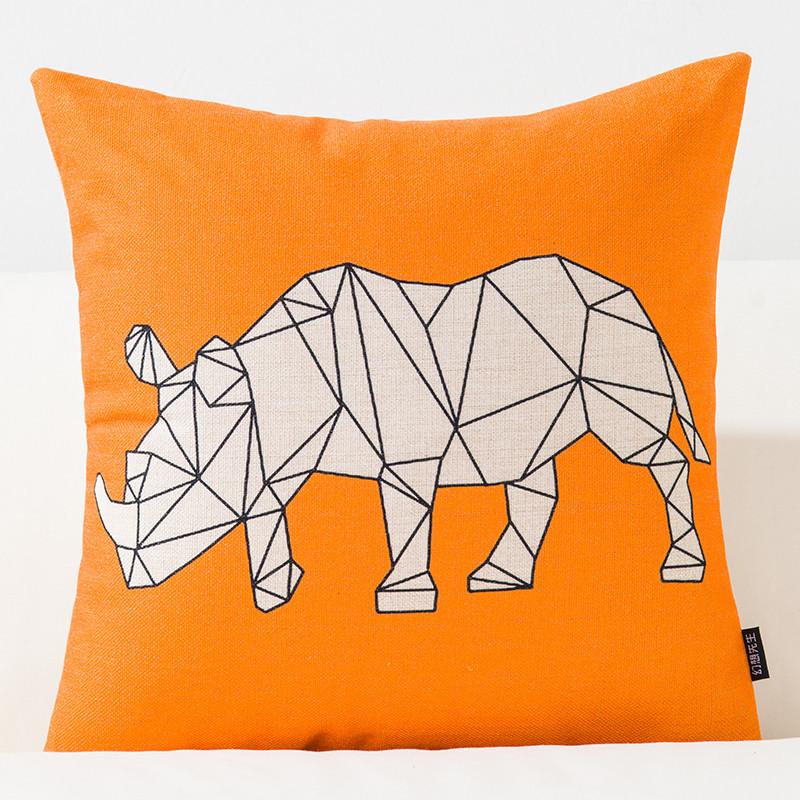 简约动物现代几何北欧文艺风格英伦抽象棉麻抱枕客厅沙发靠垫靠枕