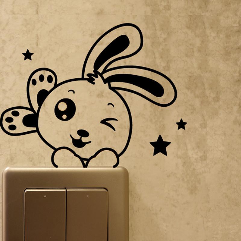 电源开关贴纸墙贴画欧式创意家居装饰品卡通可爱动物插座贴个性