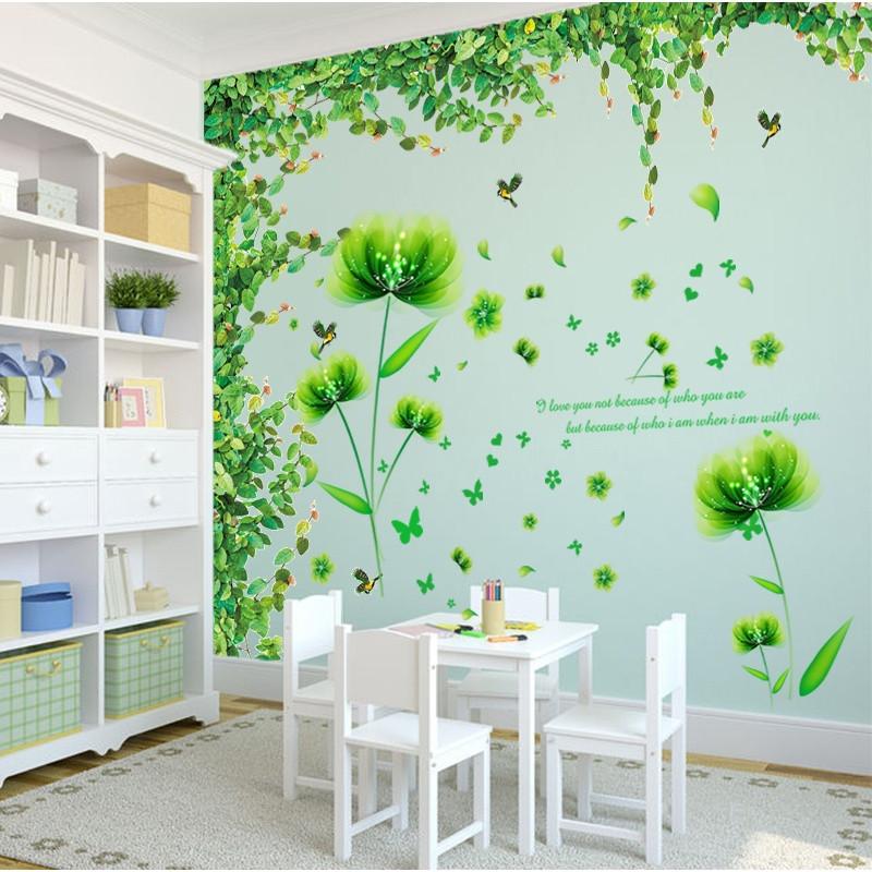 墙贴纸贴画客厅电视背景墙树藤绿叶卧室温馨小清新创意墙壁纸自粘