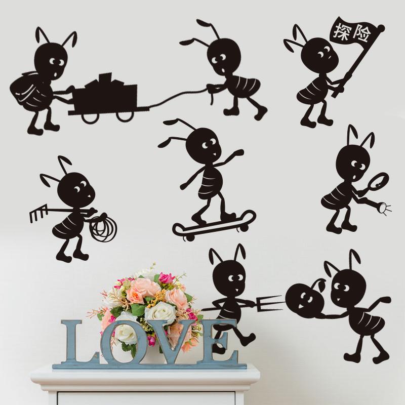 墙贴纸墙壁房间儿童幼儿园蜜蜂可爱动物装饰部分贴画搬家探险黑色卡通的蚂蚁图片