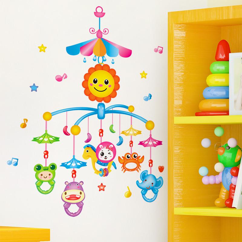 可移除墙贴纸贴画儿童房间卧室床头卡通可爱动物吊饰墙壁装饰风铃