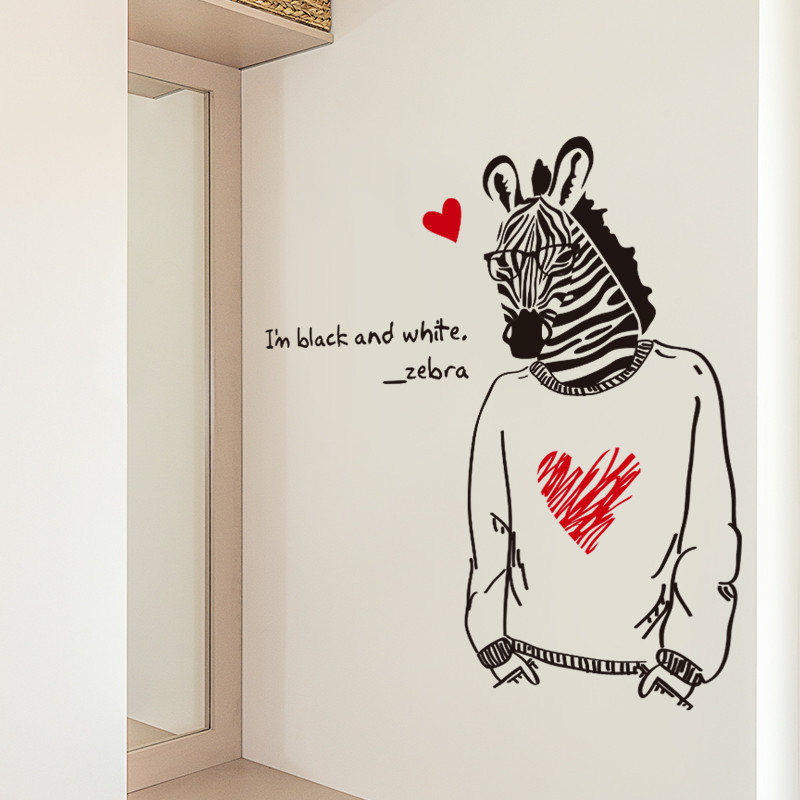 时尚ktv酒吧宿舍门贴动物黑白创意墙贴纸斑马先生卧室