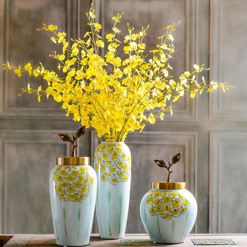 新中式家居陶瓷花瓶仿真花艺套装摆件 欧式客厅跳舞兰图片