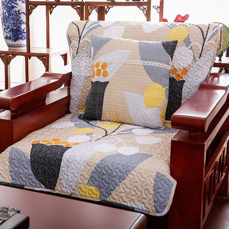 中式纯棉布艺沙发垫全棉沙发巾套坐垫格子实木真皮沙发垫图片