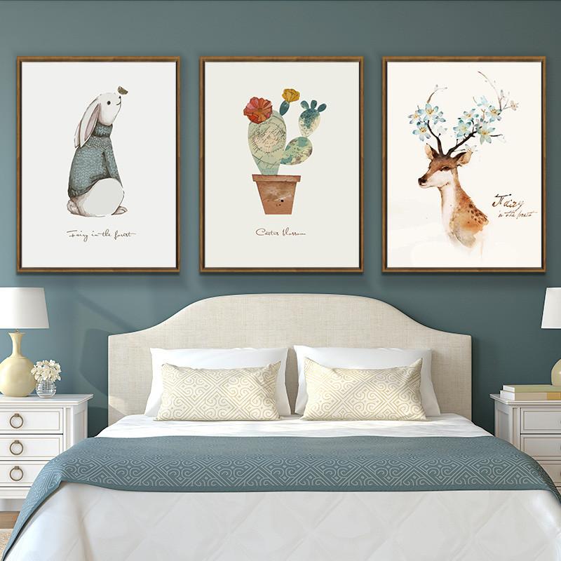 北欧装饰画三联画客厅无框画儿童房卧室挂画创意墙画au