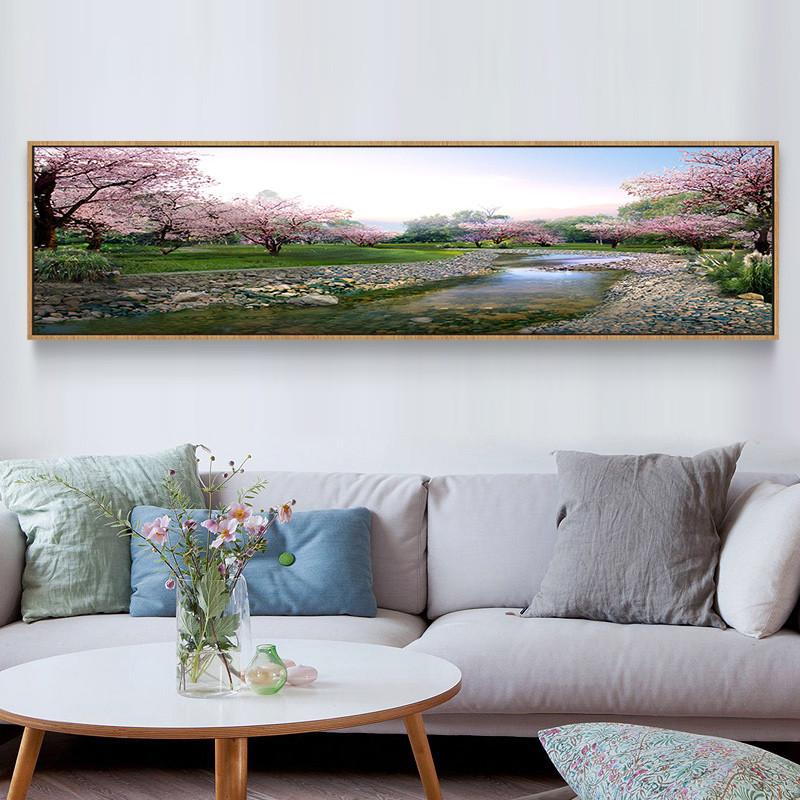 简约现代卧室床头装饰画横幅客厅沙发背景墙画办公室风景壁画