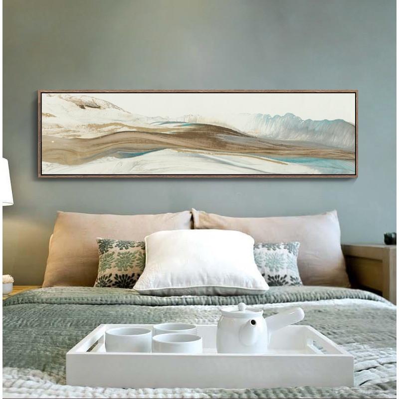 中式卧室床头装饰画客厅风景壁画沙发背景挂画墙酒店餐厅横版墙画