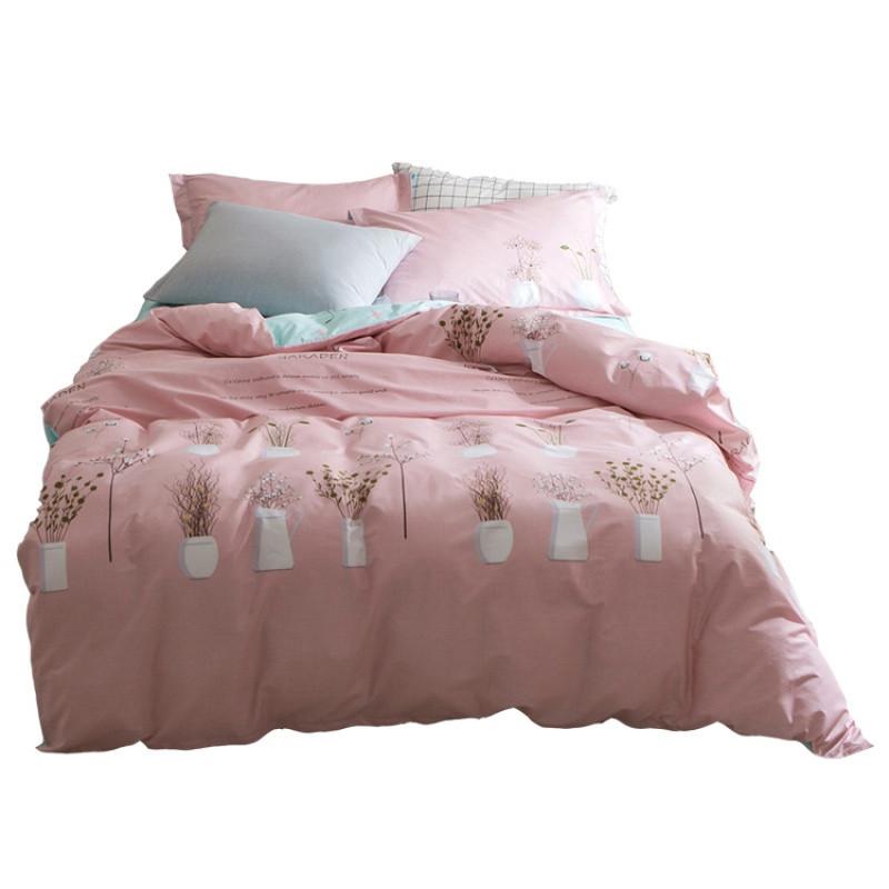 简约公主风可爱少女心植物肉盆栽全棉斜纹三四件套床上用品