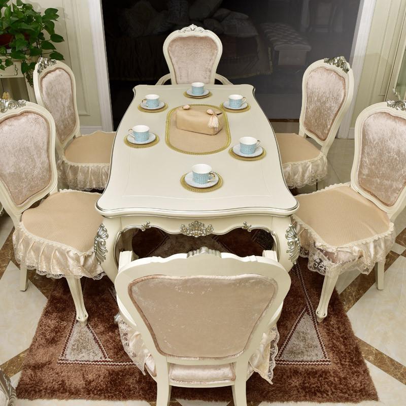 欧式餐椅垫3d纤维透气防滑坐垫餐桌椅子套座垫蕾丝裙边四季定做图片