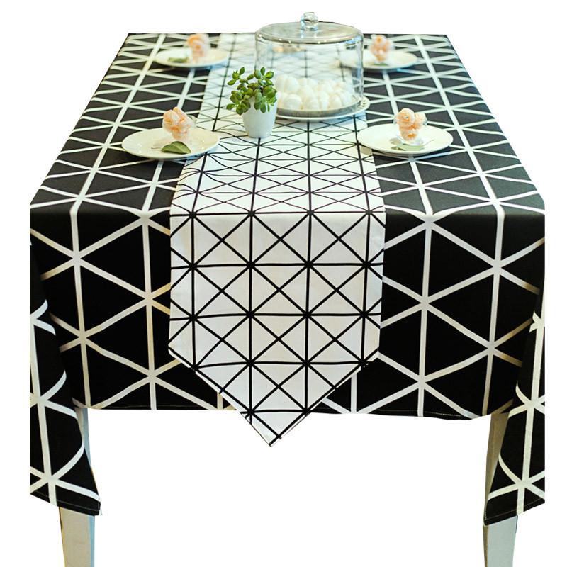 美式现代黑白几何格子北欧桌布布艺 小清新全棉帆布茶几布