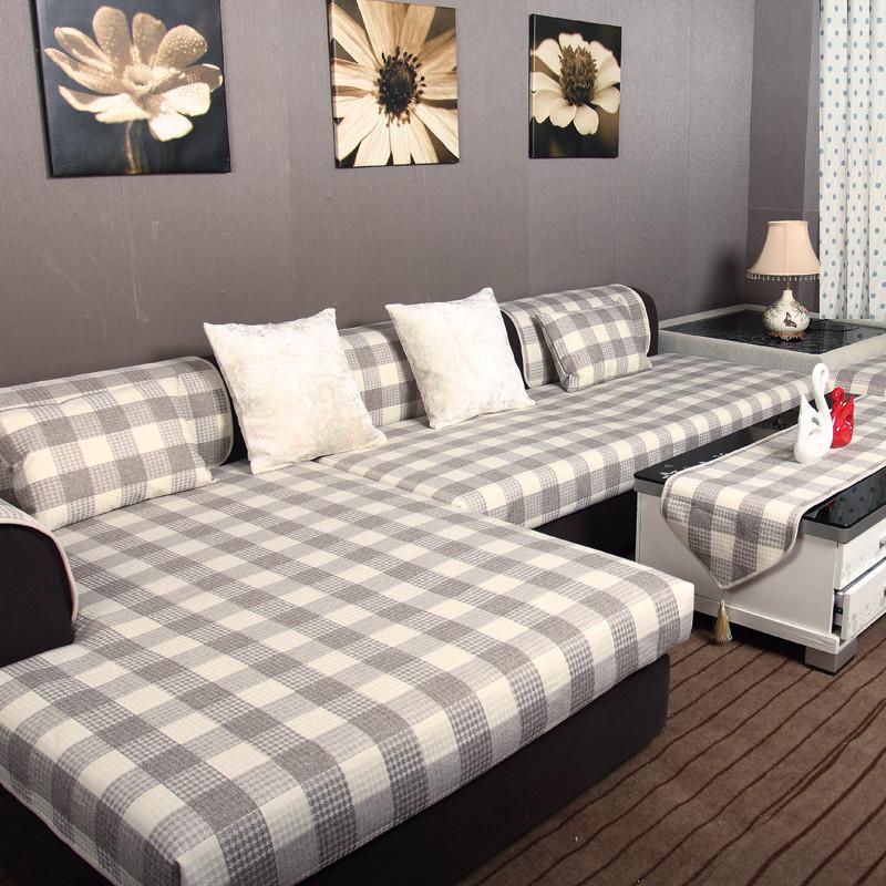 秋季亚麻沙发垫四季通用布艺韩式皮沙发巾罩防滑沙发套格子坐垫子图片