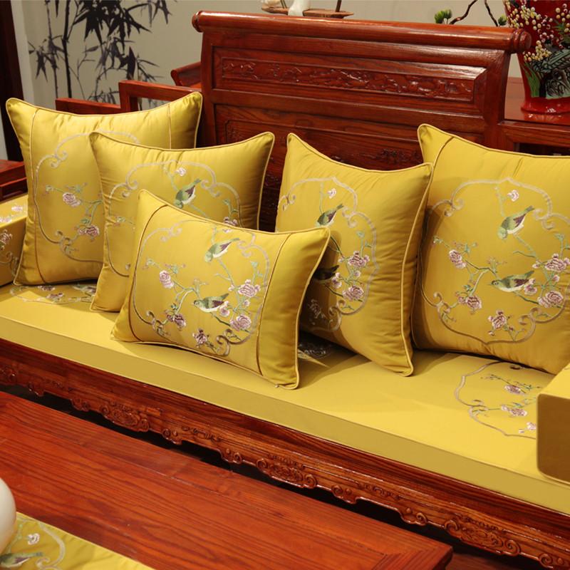 新中式坐垫花鸟刺绣靠垫红木沙发坐垫古典实木家具圈椅罗汉床坐垫图片