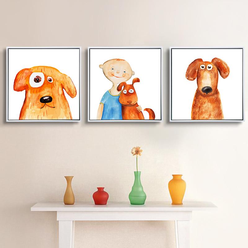 简约创意儿童房卧室床头挂画现代壁画动画萌宠动物客厅餐厅装饰画