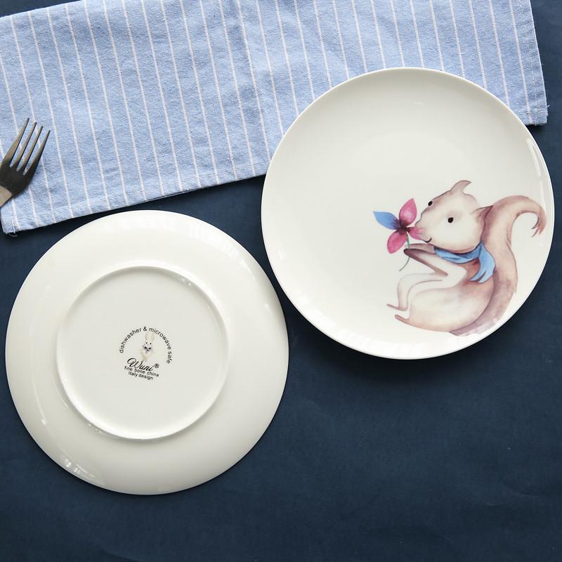 创意陶瓷盘子骨瓷西餐盘居家餐具可爱卡通动物牛排餐盘