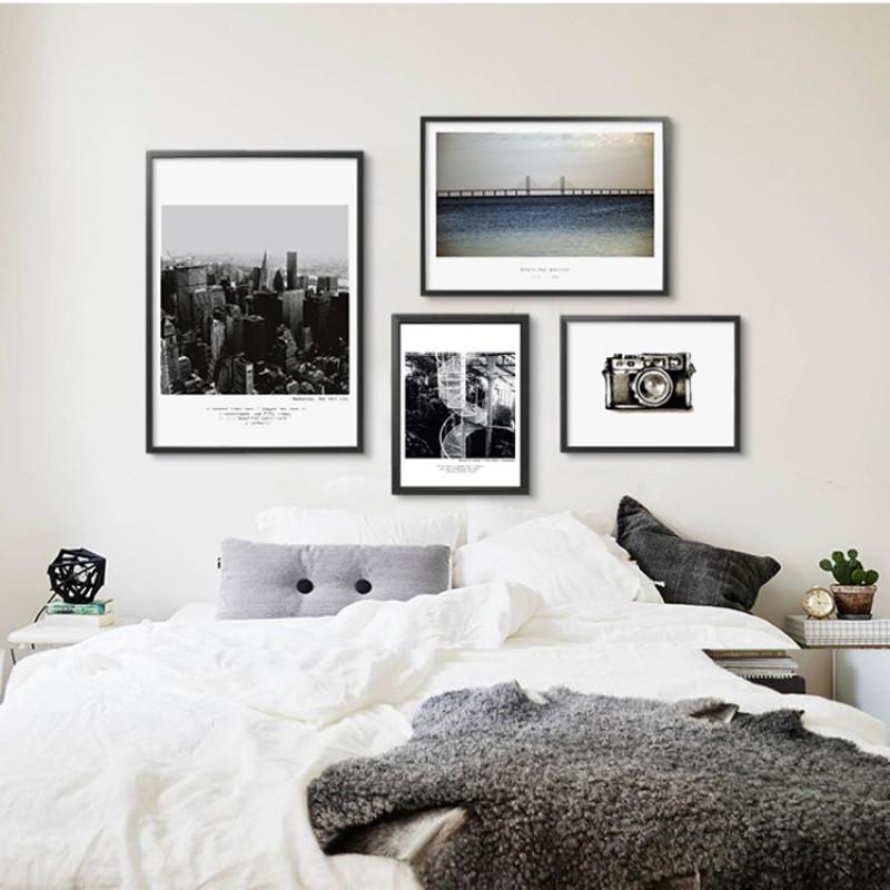 欧式风景现代组合客厅挂画沙发背景挂壁画创意黑白北欧风格装饰画图片