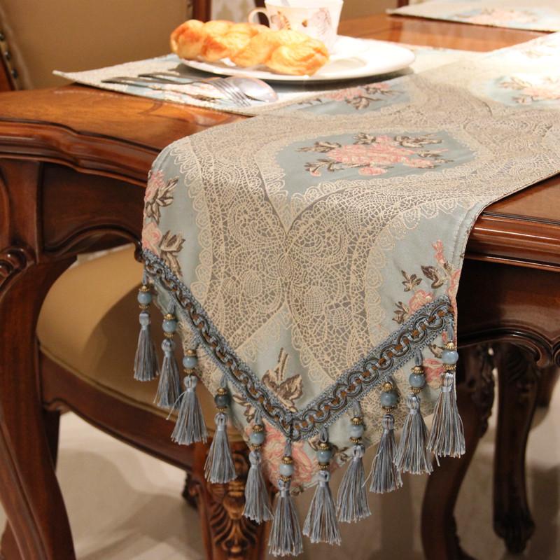 欧式桌旗床尾巾家用餐桌客厅装饰高档桌布茶几布电视柜长条布