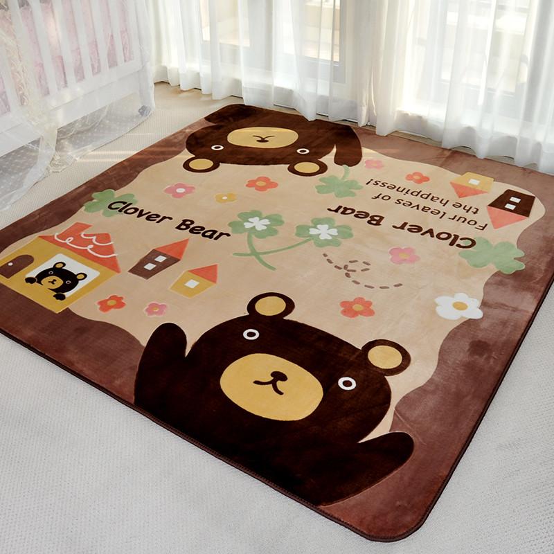 新款2018卡通地毯 可爱儿童房丝毛爬行毯 儿童地毯加厚绒面 长方形