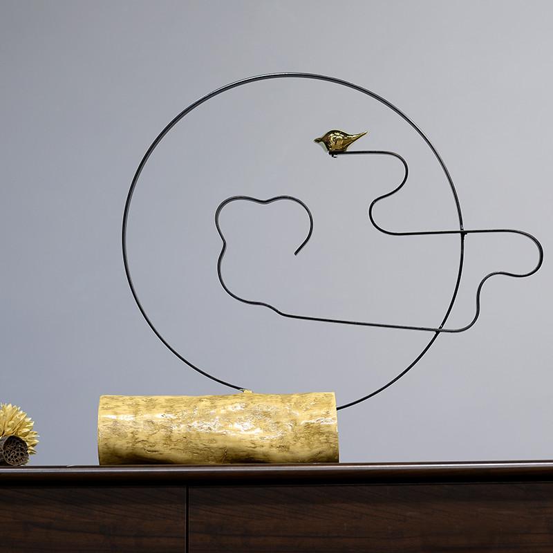 2018新中式客厅书房电视柜创意家居软装饰品仿木树枝金属铁艺小鸟摆件图片
