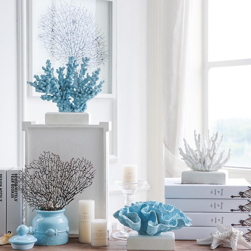 新款2018米子家居 地中海海洋风树脂仿真珊瑚树客厅装饰品摆件摆设图片