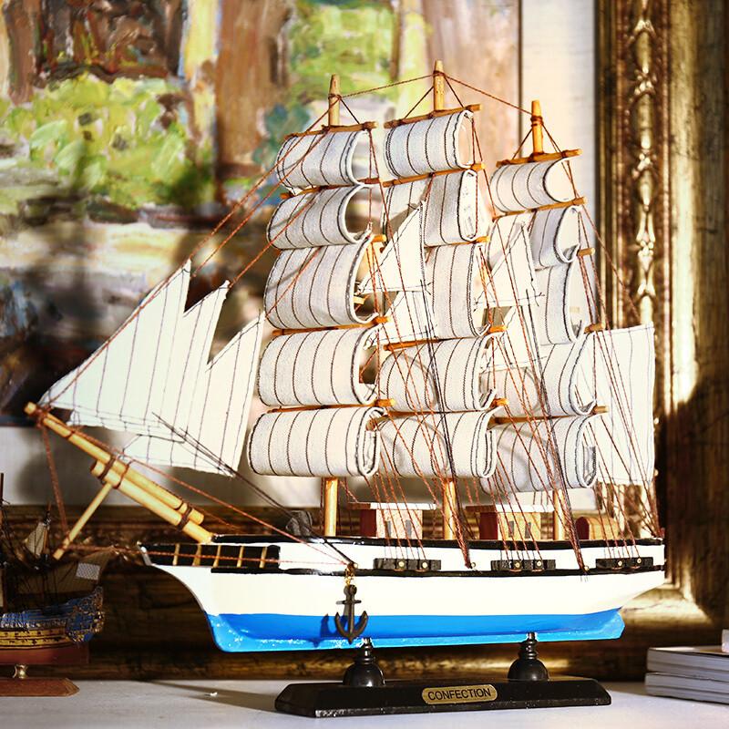 新款2018实木质帆船模型摆件 一帆风顺装饰工艺船33cm