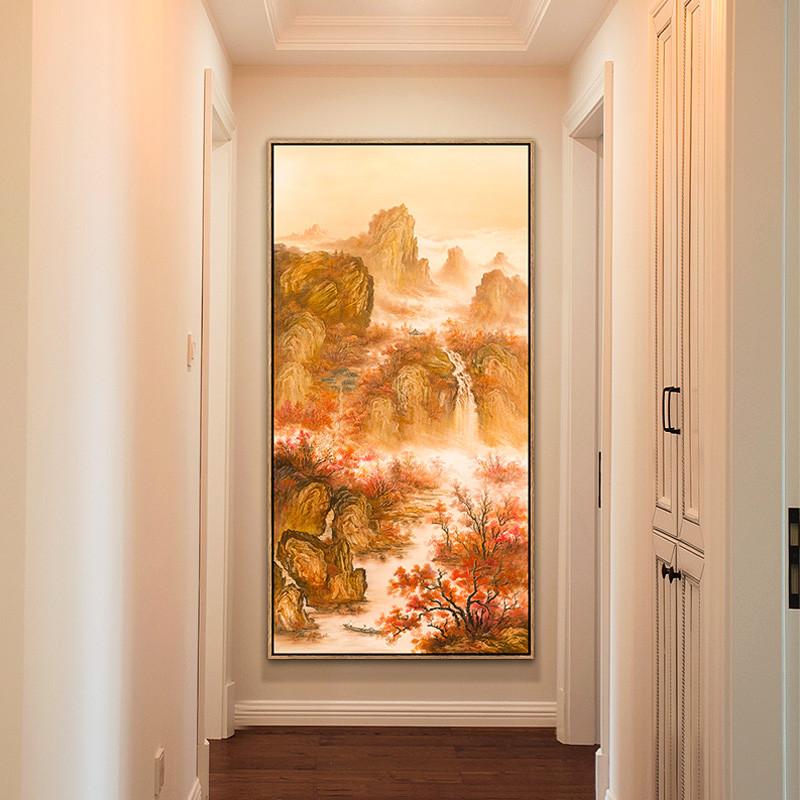 新款特价新中式玄关装饰画竖版过道风水寓意壁画酒店餐厅走廊挂画背景