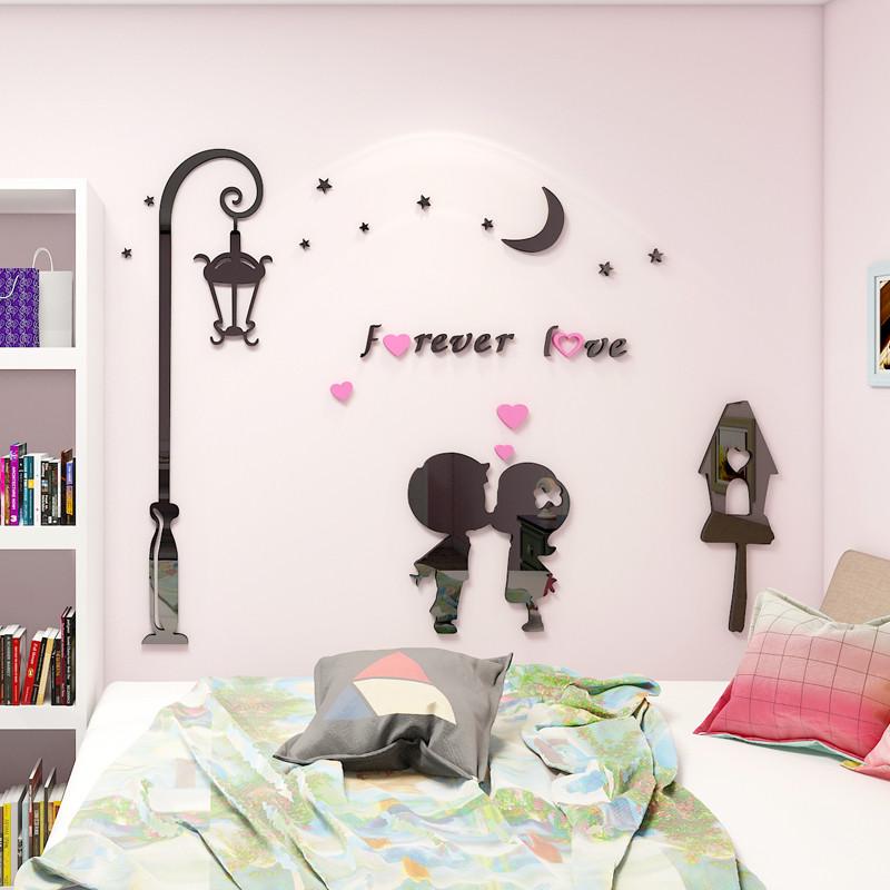 新款2018卡通情侣浪漫3d立体墙贴画卧室床头客厅沙发背景壁画贴纸墙上