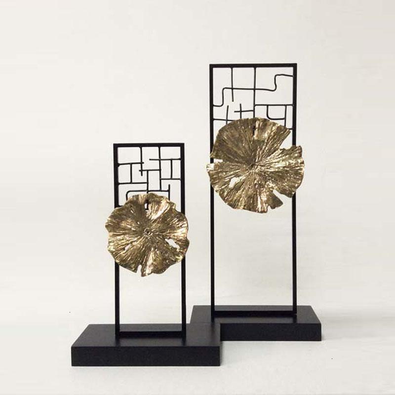 新款2018现代中式禅意陶瓷铁艺摆件创意客厅电视柜玄关家居样板房软装图片