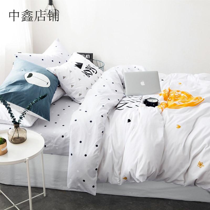 简约风四件套可爱卡通小清新被套床单床笠床上用品