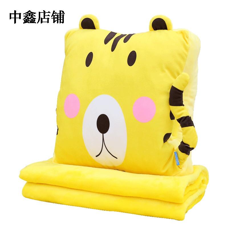 可爱卡通抱枕被子两用汽车多功能珊瑚绒个性动物三合一夏凉被韩版