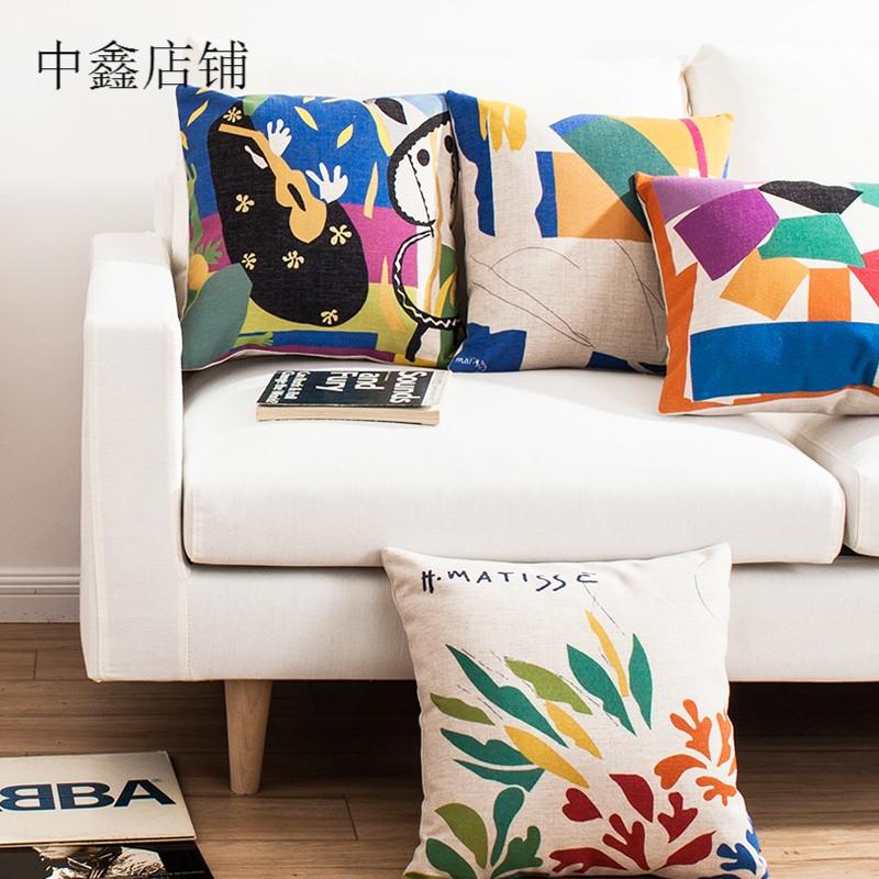 色彩马蒂斯 名画现代时尚创意简约复古棉麻沙发靠垫抱枕靠枕